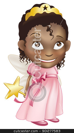 fairy princess girl stock vector clipart, An illustration of a young black girl dressed in a fairy princess costume, with a crown, star wand and butterfly wings by Christos Georghiou