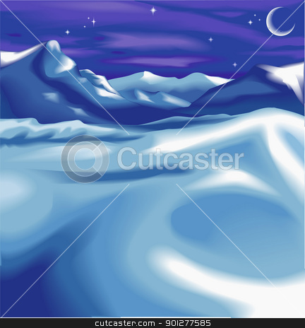 christmas landscape background stock vector clipart, Beautiful snowy night time winter landscape scene, with the moon and stars. No meshes used.  by Christos Georghiou