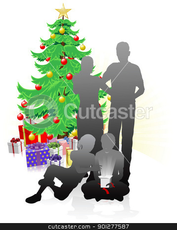 A family Christmas stock vector clipart, Family at Christmas unwrapping gifts in front of Christmas tree by Christos Georghiou