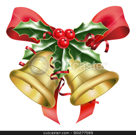 festive bells and bows  stock vector clipart, an illustration of festive bells and bows, with a sprig of holly, at christmas time by Christos Georghiou