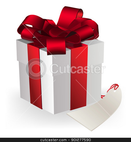 gift box stock vector clipart, illustration of a gift box decorated with ribbon, bow and gift tag. by Christos Georghiou