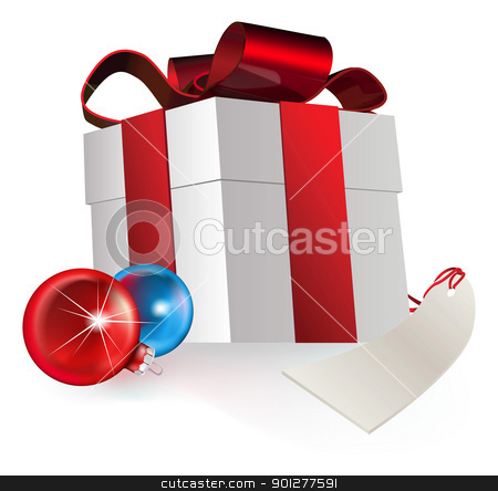 gift and baubles stock vector clipart, illustration of a gift box and christmas baubles, depicting a seasonal gift by Christos Georghiou