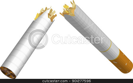 cigarette broken illustration stock vector clipart, An illustration of a broken cigarette. No meshes used.  by Christos Georghiou