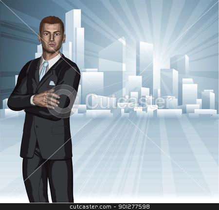 Confident young businessman city skyline concept stock vector clipart, Confident young businessman in front of city skyline background concept  by Christos Georghiou
