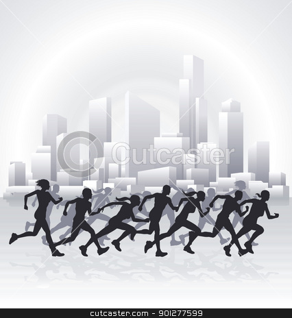 Cityscape runners stock vector clipart, Runners running in an urban city with a cityscape skyline in the background.  by Christos Georghiou