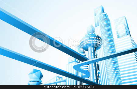 Futuristic cityscape stock vector clipart, Abstract illustration of a futuristic cityscape or skyline by Christos Georghiou