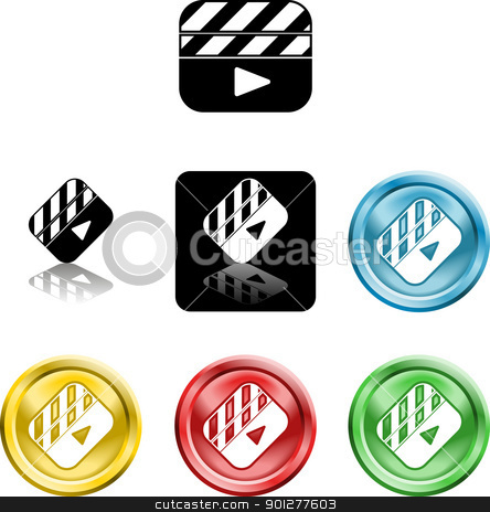 Film Clapper icon symbol stock vector clipart, Several versions of an icon symbol of a stylised film clapper board  by Christos Georghiou