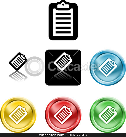 Clipboard icon symbol stock vector clipart, Several versions of an icon symbol of a stylised clipboard with document on it    by Christos Georghiou
