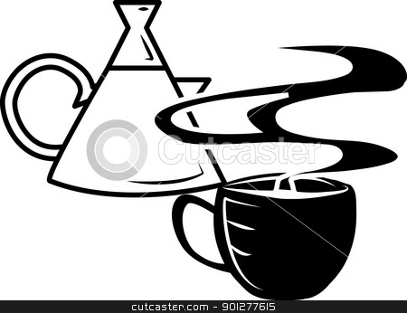 Coffee Illustration stock vector clipart, A coffee cup and steaming cup of coffee.  by Christos Georghiou