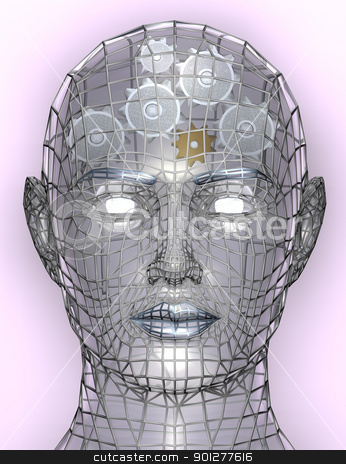 Illustration of cogs or gears in human head stock photo, Illustration of cogs or gears in human head, representing cognitive working of human head, the inner workings of the brain etc.  by Christos Georghiou