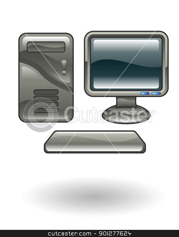 computer Illustration stock vector clipart, Illustration of a computer by Christos Georghiou