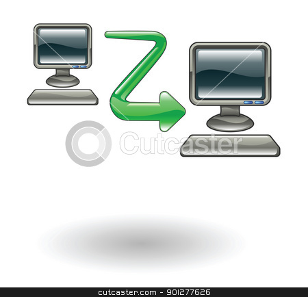 computer to computer Illustration stock vector clipart, Illustration of connection of two computers by Christos Georghiou