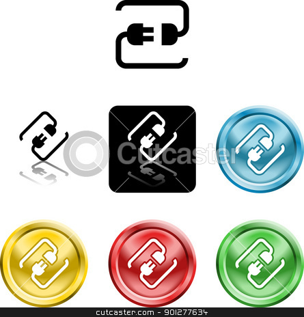 connecting cable plug icon symbol stock vector clipart, Several versions of an icon symbol of a stylised plug connecting  by Christos Georghiou