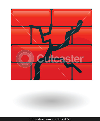 cracked wall Illustration stock vector clipart, Illustration of a red cracked wall by Christos Georghiou