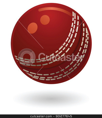 cricket ball Illustration stock vector clipart, Illustration of a cricketball by Christos Georghiou