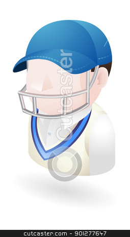 cricketer illustration stock vector clipart, Illustration of a cricket player in helmet by Christos Georghiou
