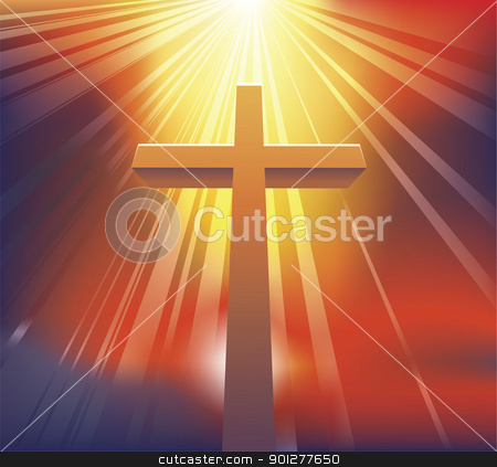 The Cross stock vector clipart, An awesome dramatic Christian cross bathed in light by Christos Georghiou