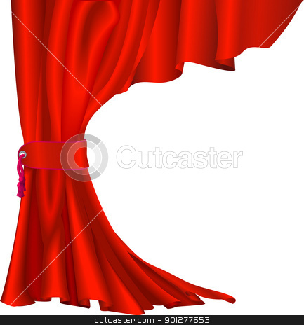 Red velvet curtain stock vector clipart, Illustration of  red velvet curtain with tassel like those in theatres or cinemas   by Christos Georghiou