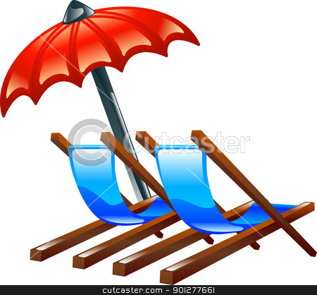 Deck or beach chairs and parasol stock vector clipart, Illustration of shiny glossy deck or beach chairs and parasol representing summer holidays or vacations  by Christos Georghiou