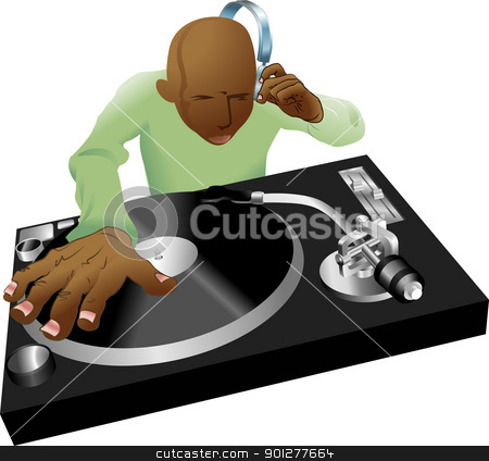 deejay mixing illustration stock vector clipart, Illustration of dynamic DJ mixing on his record decks  by Christos Georghiou