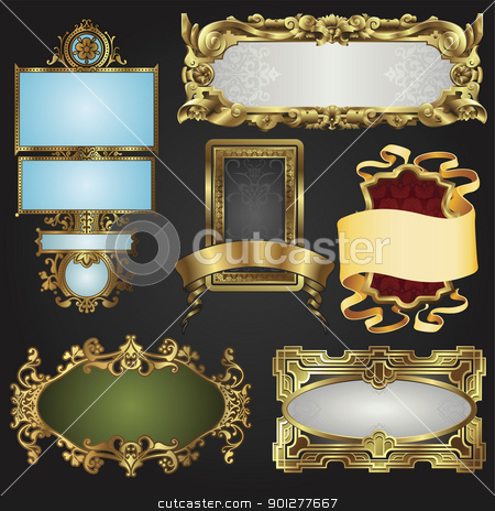 Vintage retro gold frames and labels stock vector clipart, Vintage retro glossy gold frames and labels in a variety of retro antique styles. by Christos Georghiou