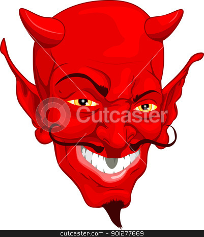 Devil face stock vector clipart, A red cartoon style devil face by Christos Georghiou