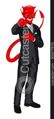 Devil business man pointing stock vector clipart, Business man satan  in business suit pointing his finger at you by Christos Georghiou