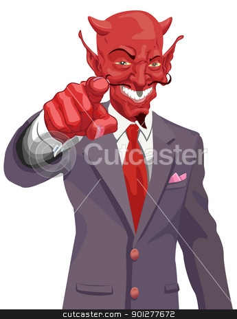 devil pointing illustration stock vector clipart, The devil wants you! Is the corporate world asking you to sell out or just the tax man wanting his due? No meshes used  by Christos Georghiou