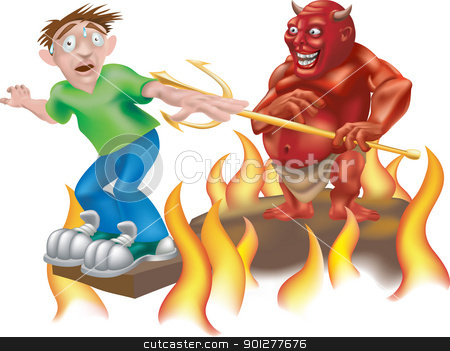 devil illustration stock vector clipart, A devil laughing as he makes someone walk the gangplank!  by Christos Georghiou