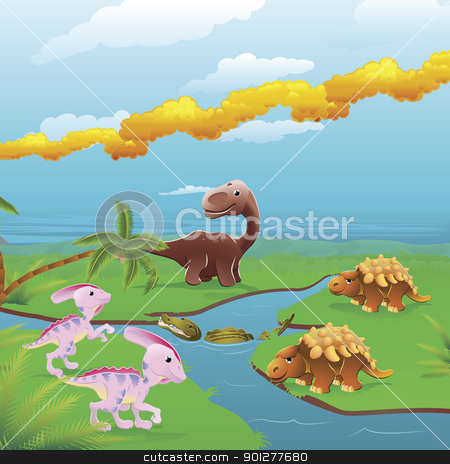 Cartoon dinosaurs scene.  stock vector clipart, Cute dinosaurs in prehistoric scene. Series of three illustrations that can be used separately or side by side to form panoramic landscape. by Christos Georghiou