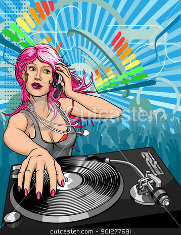 Basic RGB stock vector clipart, Female woman DJ playing music background illustration by Christos Georghiou