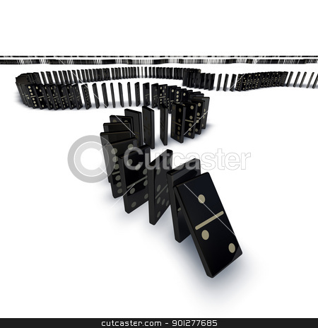 Line of dominoes falling stock photo, A long line of dominoes going into the distance starting to fall over cascade. by Christos Georghiou