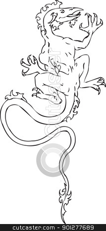 dragon Illustration stock vector clipart, An illustration of a dragon.  by Christos Georghiou