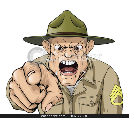 Cartoon angry army drill sergeant shouting stock vector clipart, Illustration of cartoon angry looking army drill sergeant shouting at the viewer by Christos Georghiou