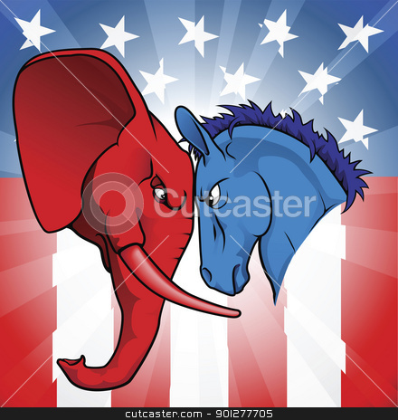 American politics stock vector clipart, The democrat and republican symbols of a donkey and elephant facing off.  by Christos Georghiou