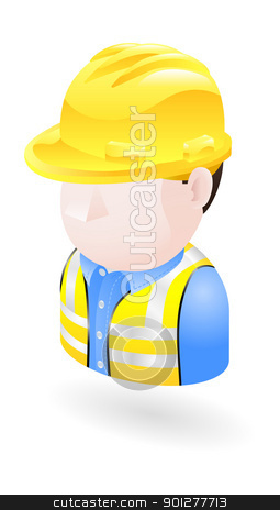 engineer illustration stock vector clipart, Illustration of an engineer in a hardhat by Christos Georghiou