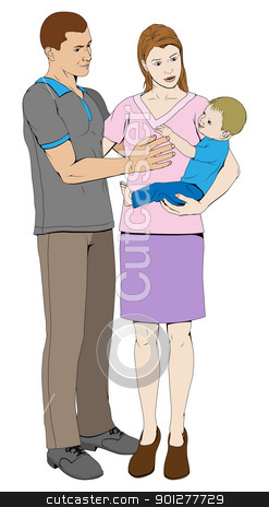 Young loving happy family stock vector clipart, A young loving family happy together by Christos Georghiou