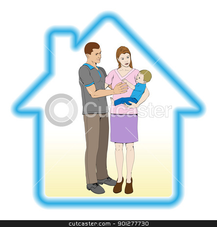 Family home concept stock vector clipart, A young family mother father and child home house concept by Christos Georghiou