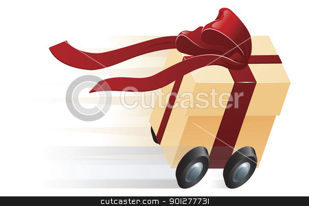 Fast Present Gift on Wheels Concept stock vector clipart, A very fast gift zooming along on wheels. Concept for shipping, fast delivery or gift wrapping. by Christos Georghiou
