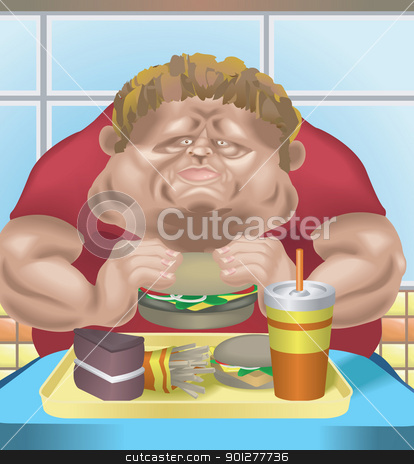 Fat man fast food stock vector clipart, An obese man in fast food restaurant consuming junk food. No meshes used.  by Christos Georghiou