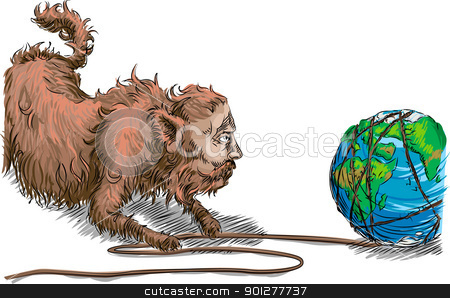 Fat cat stock vector clipart, Conceptual piece, big business fat cat unwinding the earth like a ball of twine. Striping it of its natural resources.  by Christos Georghiou