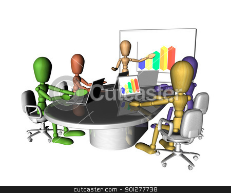 Business people meeting presentation stock photo, A group of multicoloured figures at a business meeting. One is presenting at the front of the room.3D objects created especially for this series of illustrations by the artist.  by Christos Georghiou