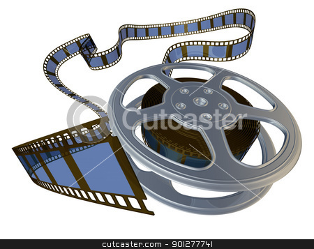 3d rendered film reel  stock photo, 3d rendered film reel spooling from its case by Christos Georghiou