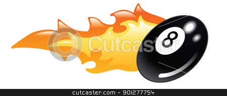 flaming 8 ball stock vector clipart, Illustration of a flaming eight ball pool ball by Christos Georghiou