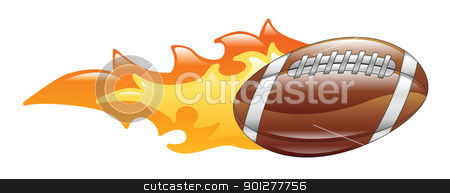 flaming american football stock vector clipart, Illustration of a flaming american football by Christos Georghiou