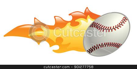 flaming baseball stock vector clipart, Illustration of a flaming baseball by Christos Georghiou