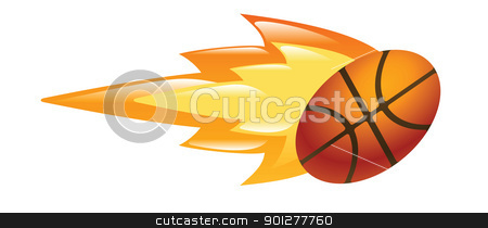 flaming basketball stock vector clipart, Illustration of a flaming basketball by Christos Georghiou