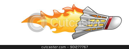 flaming badmington cock stock vector clipart, Illustration of a flaming badminton cock by Christos Georghiou