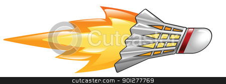 flaming shuttlecock stock vector clipart, Illustration of a flaming Badminton cock by Christos Georghiou