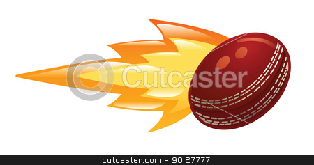 flaming cricket ball stock vector clipart, Illustration of a flaming cricket ball by Christos Georghiou